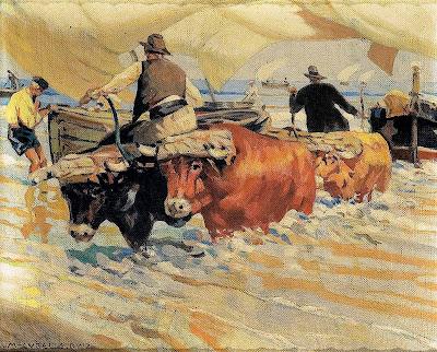 Sacando la barca, Enrique Martínez Cubells, Pintor español, Pintores españoles, Martínez Cubells, Paisajes de Enrique Martínez Cubells, Pintores Valencianos
