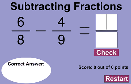 Subtracting fractions - Hard level