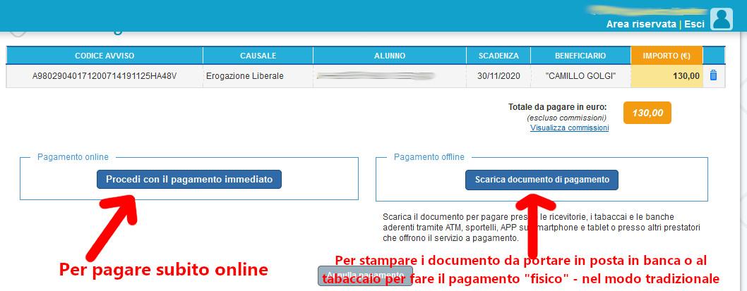 Inizio procedura di pagamento online o stampa del documento