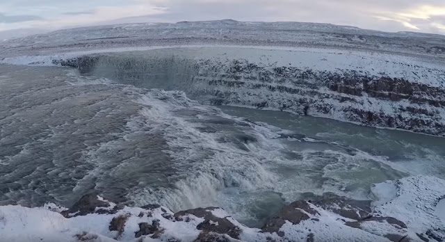 Gullfoss waterfall winter