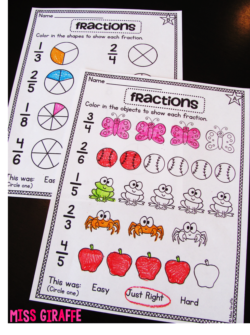 Fractions worksheets and activities that are hands on and fun