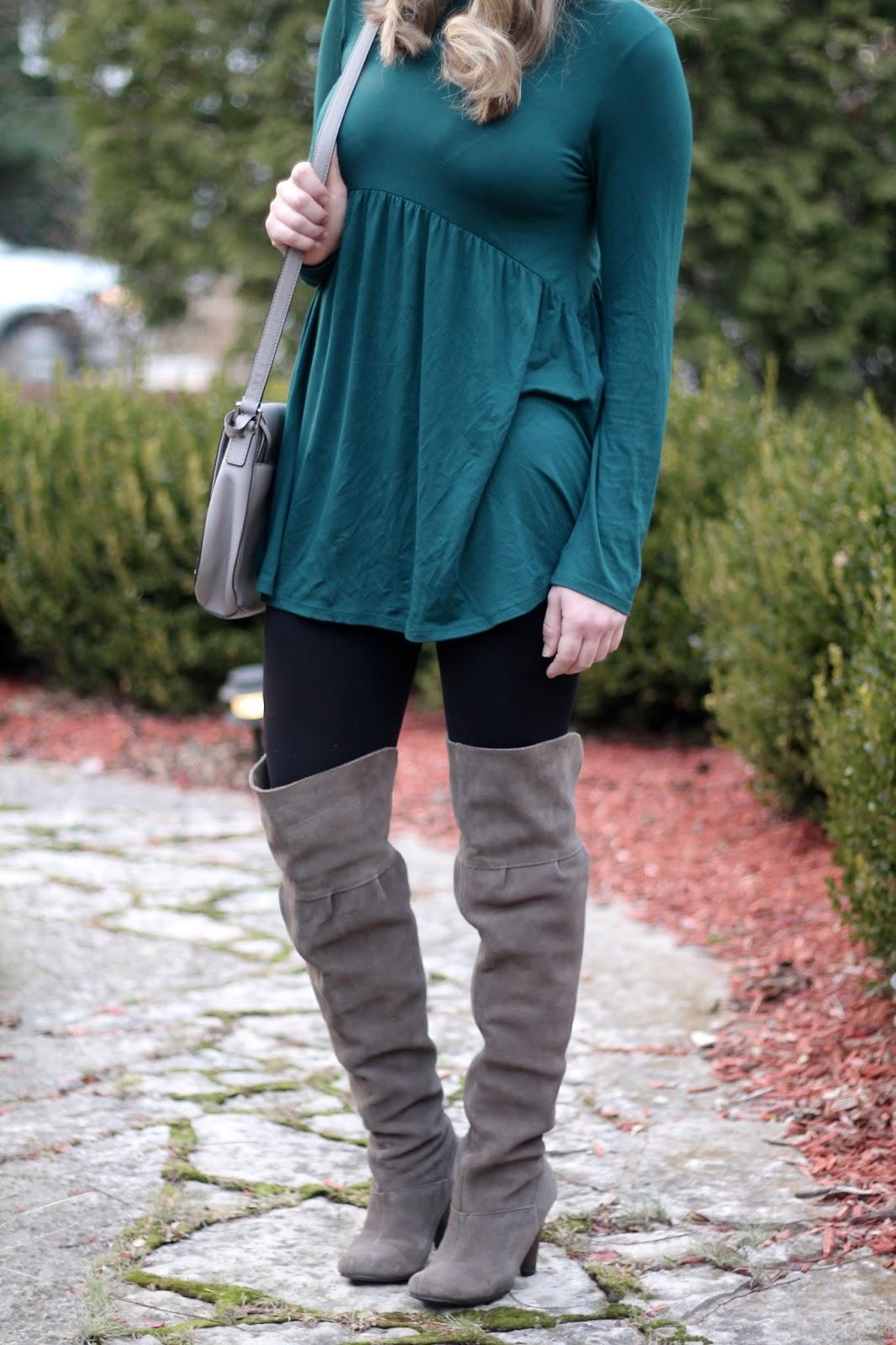 PinkBlush teal tunic, black leggings, grey OTK boots, grey saddlebag, fall outfit with leggings