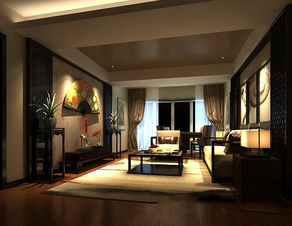 New Chinese style living room model free 3ds max