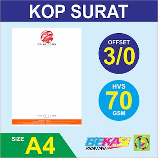 Cetak Kop Surat 3 Warna  HVS 70 GSM