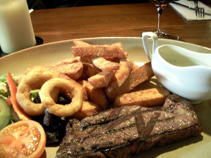 Steak and Chips with Onion Rings