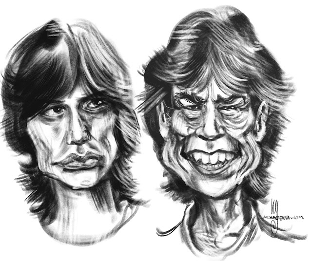 Mick Jagger caricature by Artmagenta