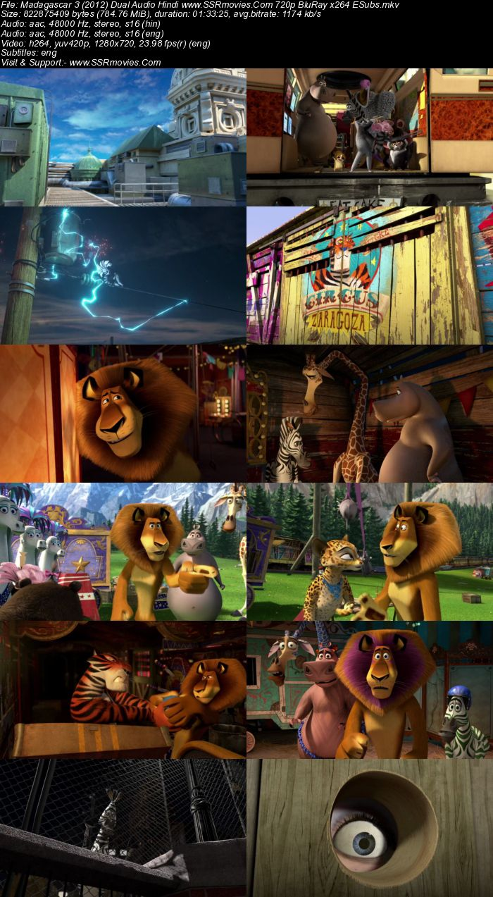 Madagascar 3 (2012) Dual Audio Hindi 480p BluRay x264 300MB ESubs Movie Download