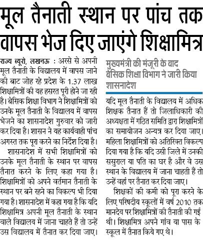 Shikshamitra News UP, Mul Tainati sthan par 5 tak vapas jayenge Shikshamitra