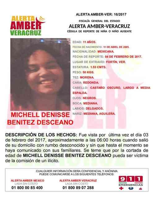 Activan-Alerta Amber para michel denisse Benitez en Fortin Veracruz