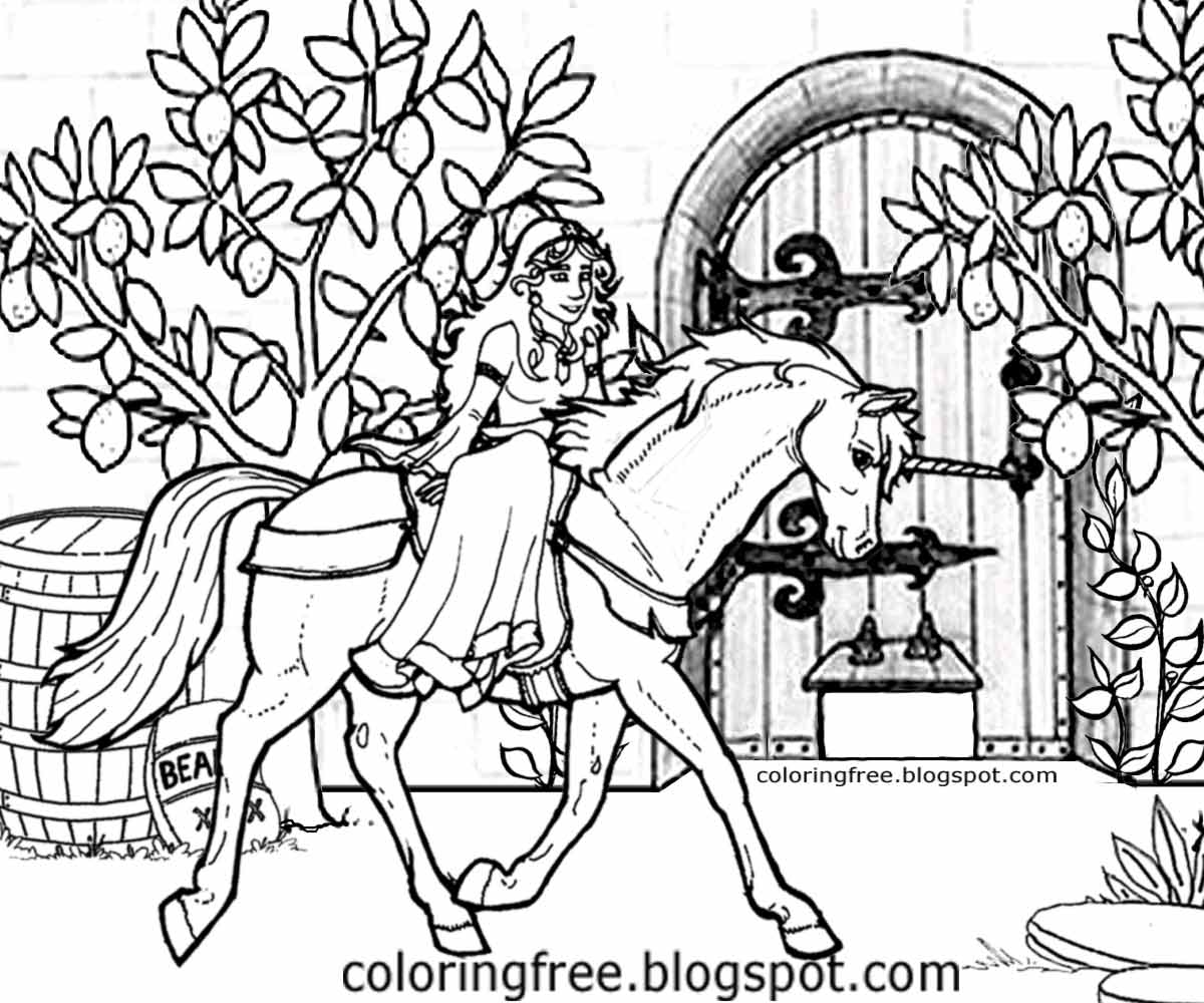 Printable Unicorn Drawing Mythical Coloring Book