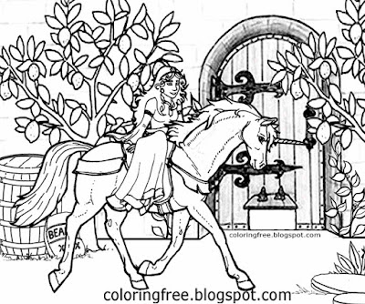 Printable medieval mythical coloring fantasy land castle door princess riding unicorn horse drawing
