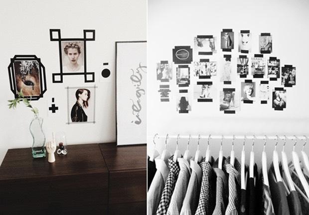 Crie um mural de fotos com fita isolante