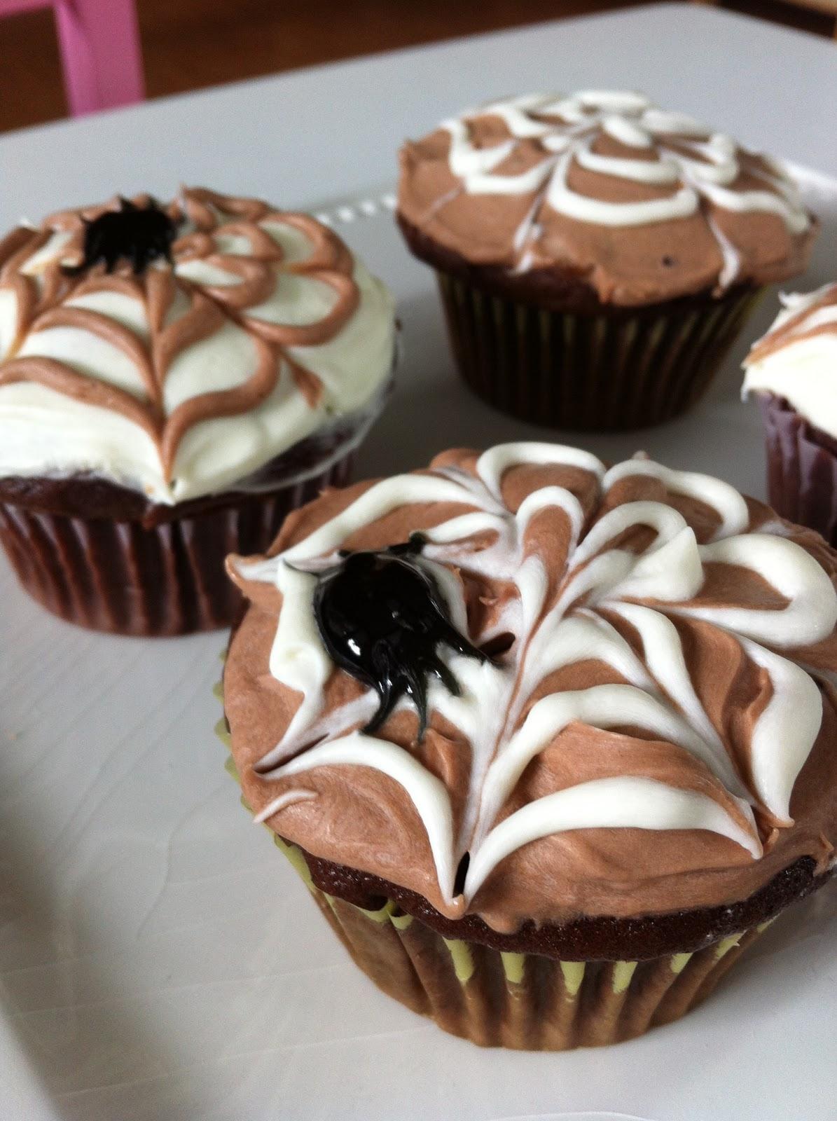The Art of Comfort Baking: Halloween Spider Web Cupcakes