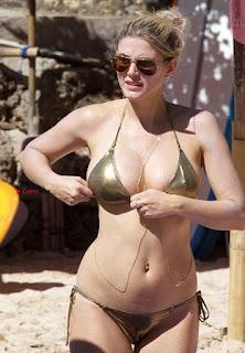 Ashley James in colorful Bikini Skin tight Boobs Hot ass shape April Excluisive 2017