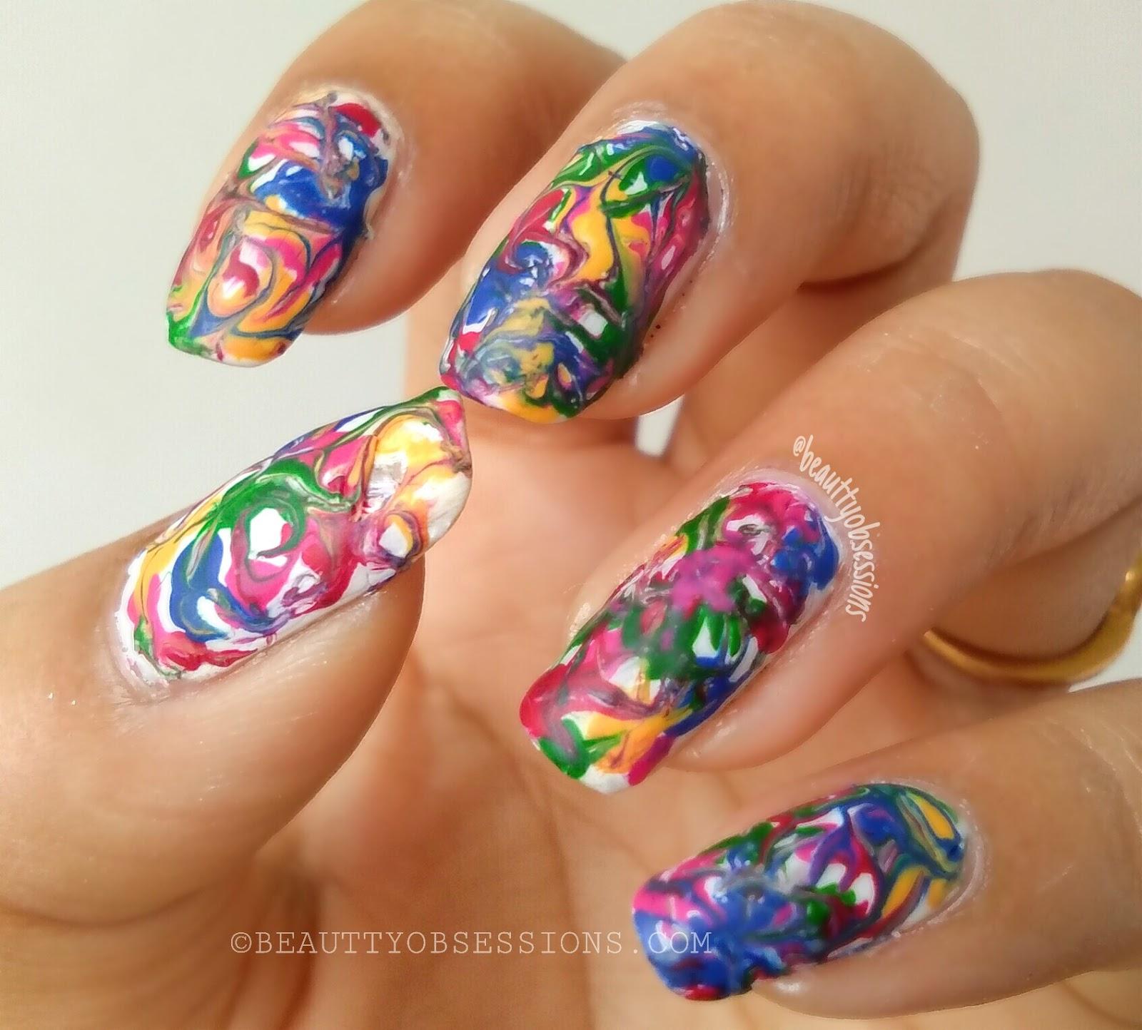 Happy Holi Multicolour Dragdry Marbel Nailart Tutorial