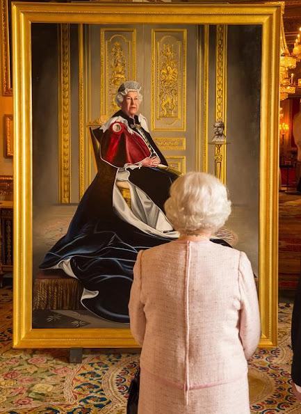 Queen Elizabeth Unveiles Her Portrait Marking Six Decades of Patronage. Style wore suit dress coat earrings bag
