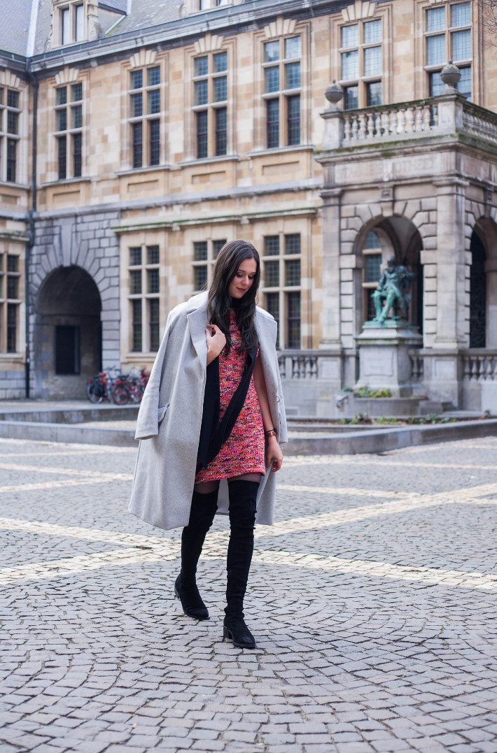 Outfit: sweater dress, long coat, thigh high boots