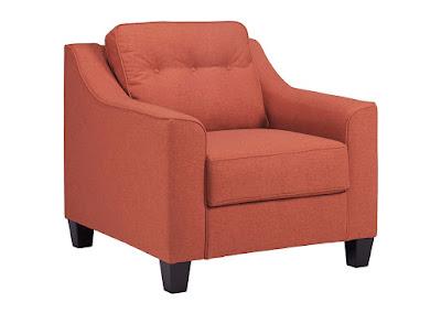 orange living room armchair