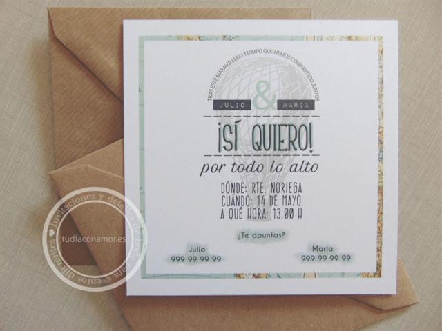 Invitación diferente y original con texto y dibujo para sorprender a vuestros invitados de boda