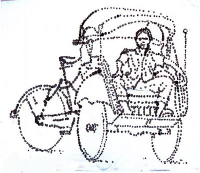 Gambar Hasil sketsa dengan cotton bud, bahan tinta Oi, di atas kertas gambar