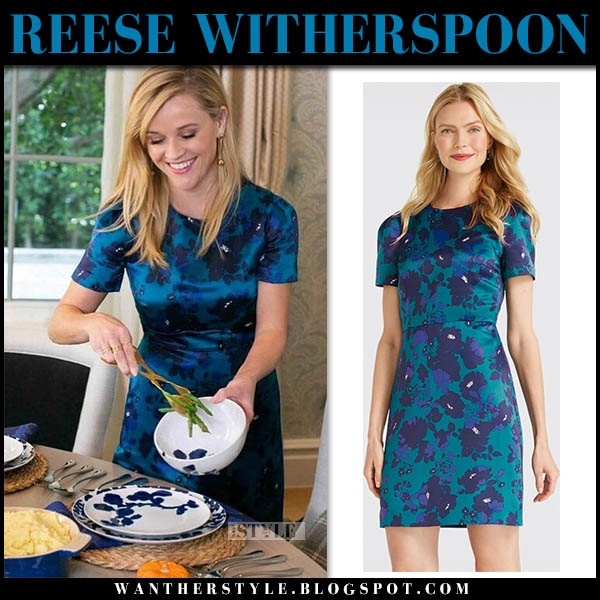Reese Witherspoon in blue floral print mini dress draper james celebrity party style november 22