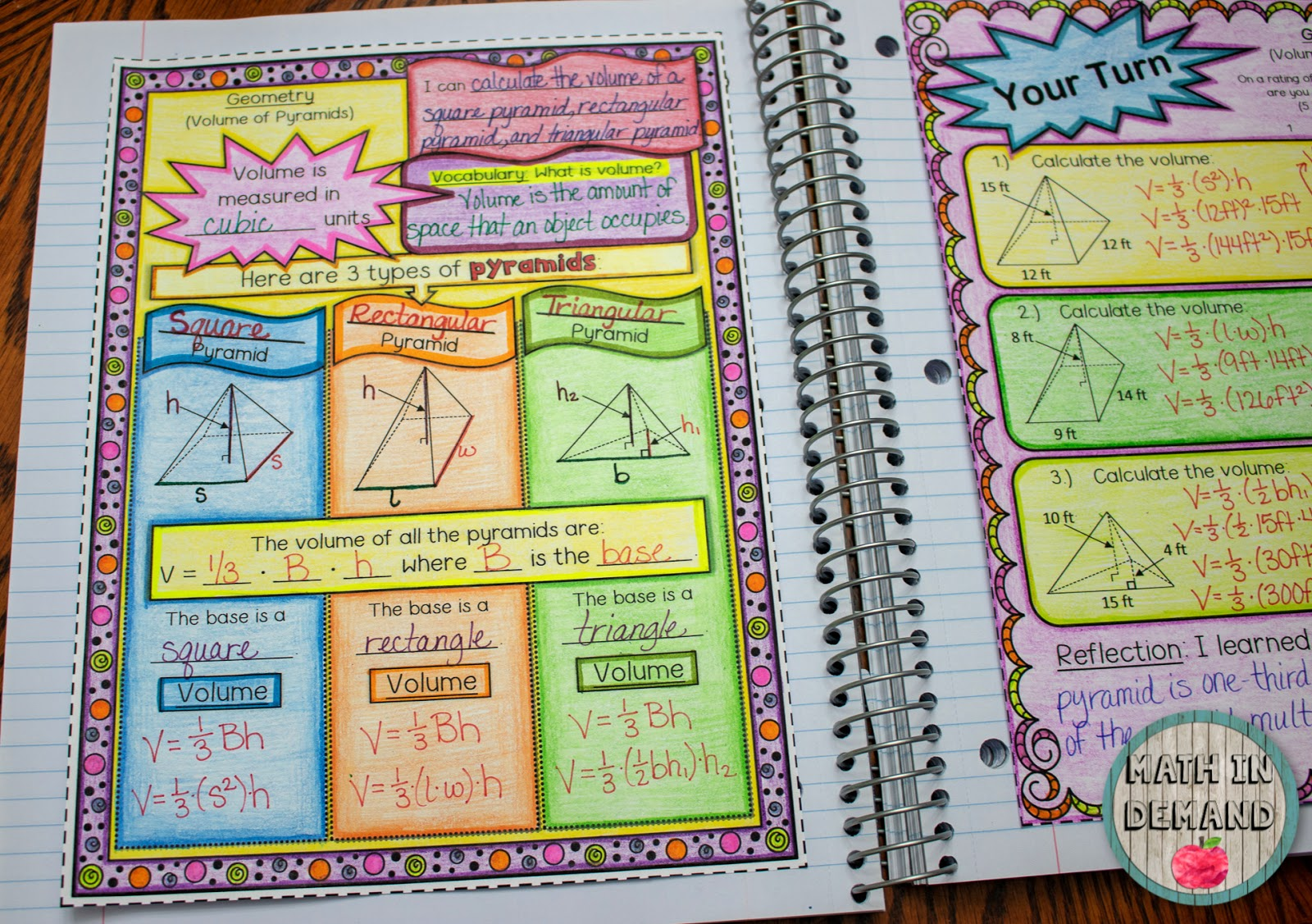 Freebie Volume Of Pyramids Math Interactive Notebook Pages