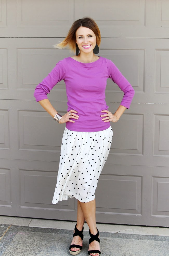 Radiant orchid tee, black and white printed skirt, black wedges