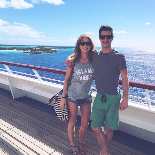 Kelcy and Nick on cruise deck Carnival Glory before heading to Half Moon Cay, Bahamas