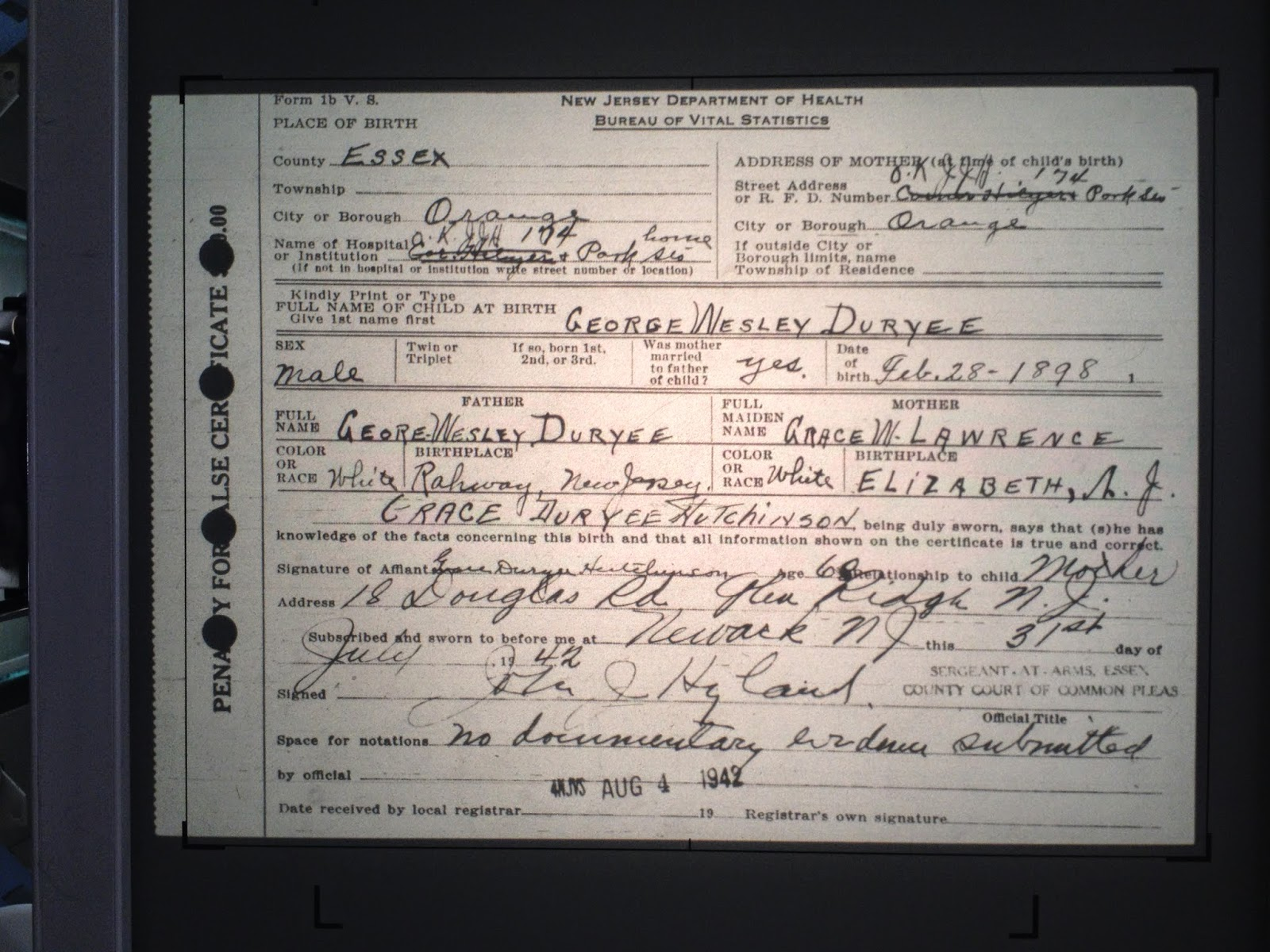 Family history research by jody duryea new jersey births george wesley duryee born february 28 1898 in orange essex county new jersey aiddatafo Images