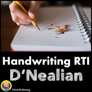 Handwriting RTI Practice Sheets and Tests - Script D'Nealian #handwriting #writing #ela #3rdgrade #4thgrade #5thgrade #6thgrade #7thgrade #8thgrade #9thgrade