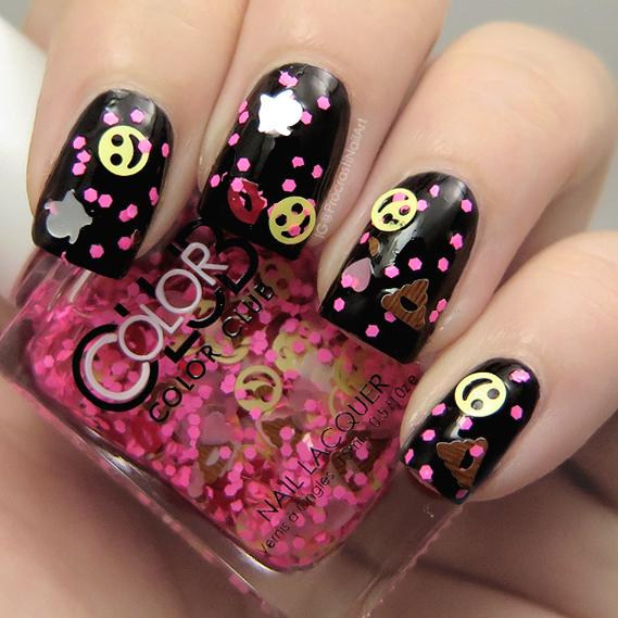 Pink emoji glitter nail polish