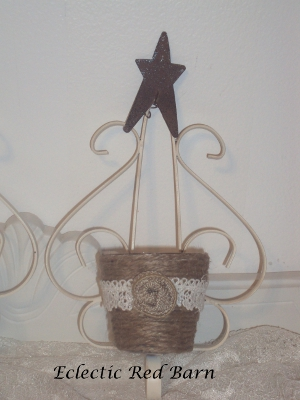 Eclectic Red Barn: Painted Sconce with Jute Wrapped Votive as Candleholder