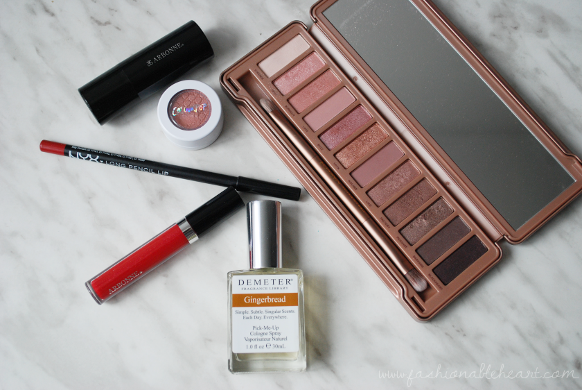 bbloggers, bbloggersca, canadian beauty bloggers, arbonne, canada, urban decay naked 3, demeter gingerbread, nyx lipliner, red lips, eyeshadow, favorites, christmas, colourpop cosmetics wattles