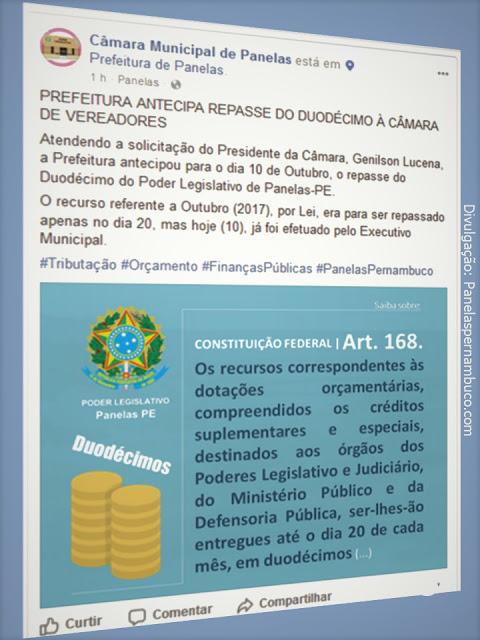 Imagem capturada na página oficial da Câmara Municipal de Panelas no Facebook.