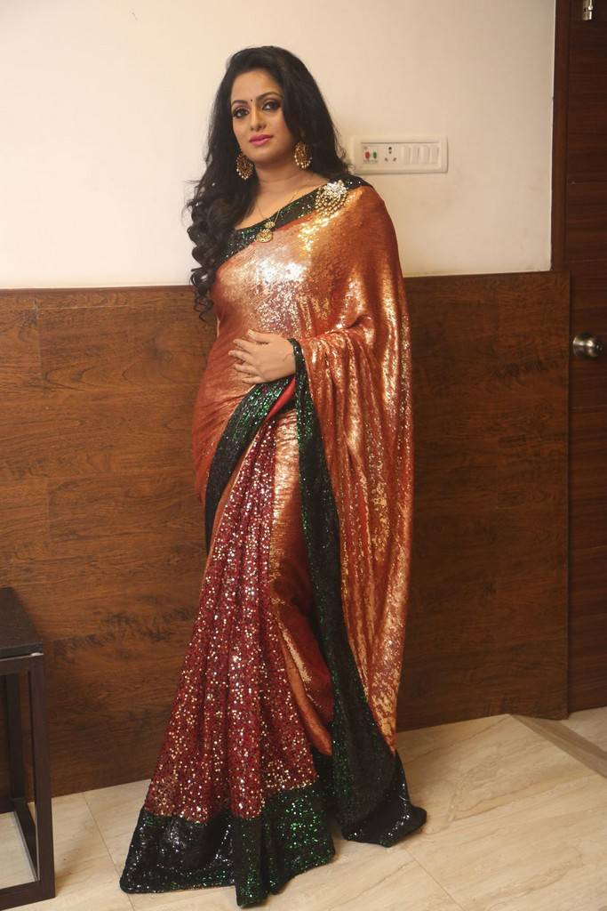 Udaya Bhanu In Red Saree At Gautham Nanda Movie Audio Launch