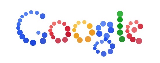 'Google' spelled out in letters comprised of discrete circles of varying sizes that get slightly darker and lighter with a kind of watercolor look, in the standard Google logo pattern