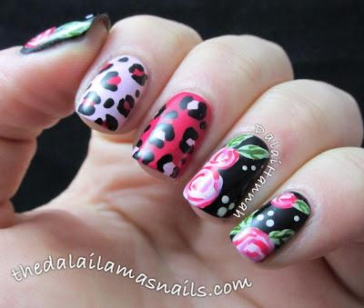 Rose and Leopard print nail art by The Dalai Lama's Nails