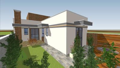 """O quintal também faz referência à letra """"L"""", num espelhamento do partido arquitetônico da casa."""