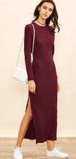 www.shein.com/Burgundy-Long-Sleeve-High-Slit-Ribbed-Dress-p-314466-cat-1727.html?aff_id=5061