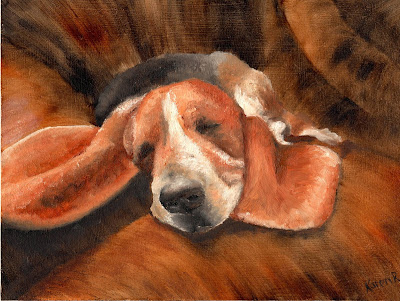 A basset hound, sleeping on the sofa, painted in Autumn colours