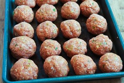 Grilled Sriracha-Sesame Turkey Meatballs  found on KalynsKitchen.com