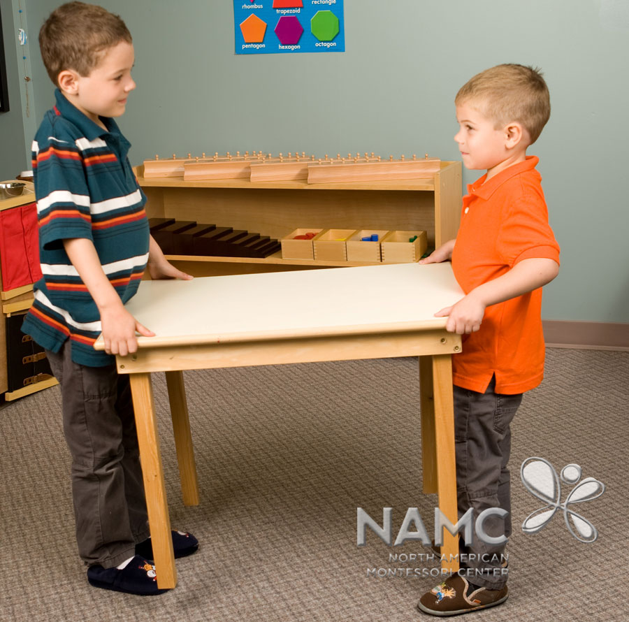 namc montessori functionality environment. children moving furniture