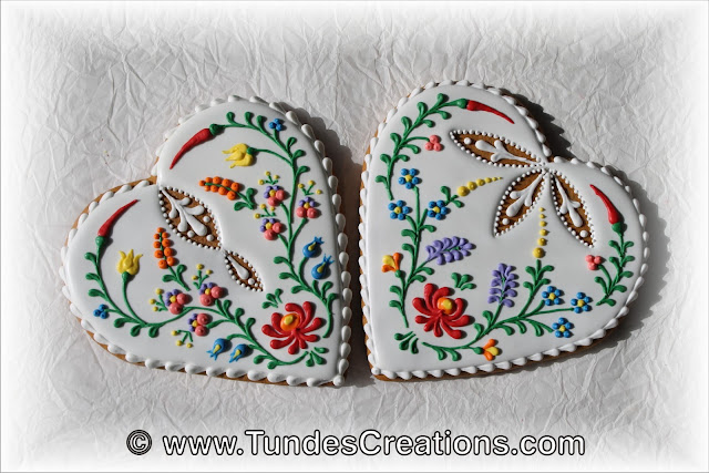 Heart cookie with Hungarian folk art flowers and eyelets by Tunde Dugantsi
