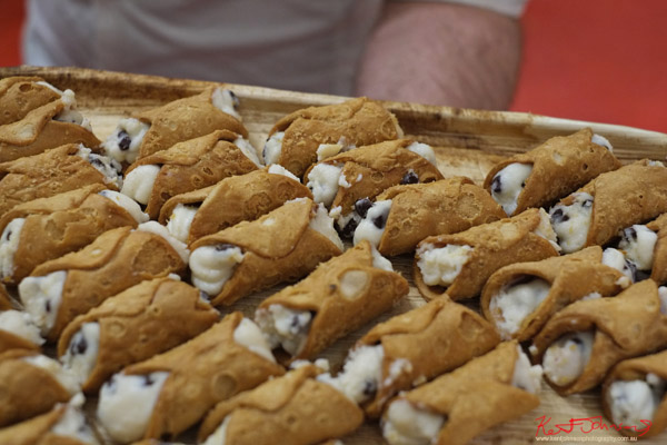 Italian desert, a tray of Cannoli; meet the designers night at The Strand Arcade. Photo by Kent Johnson.