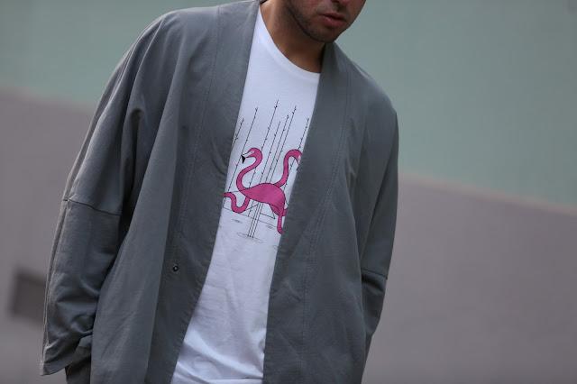 stampa flamingo su maglietta