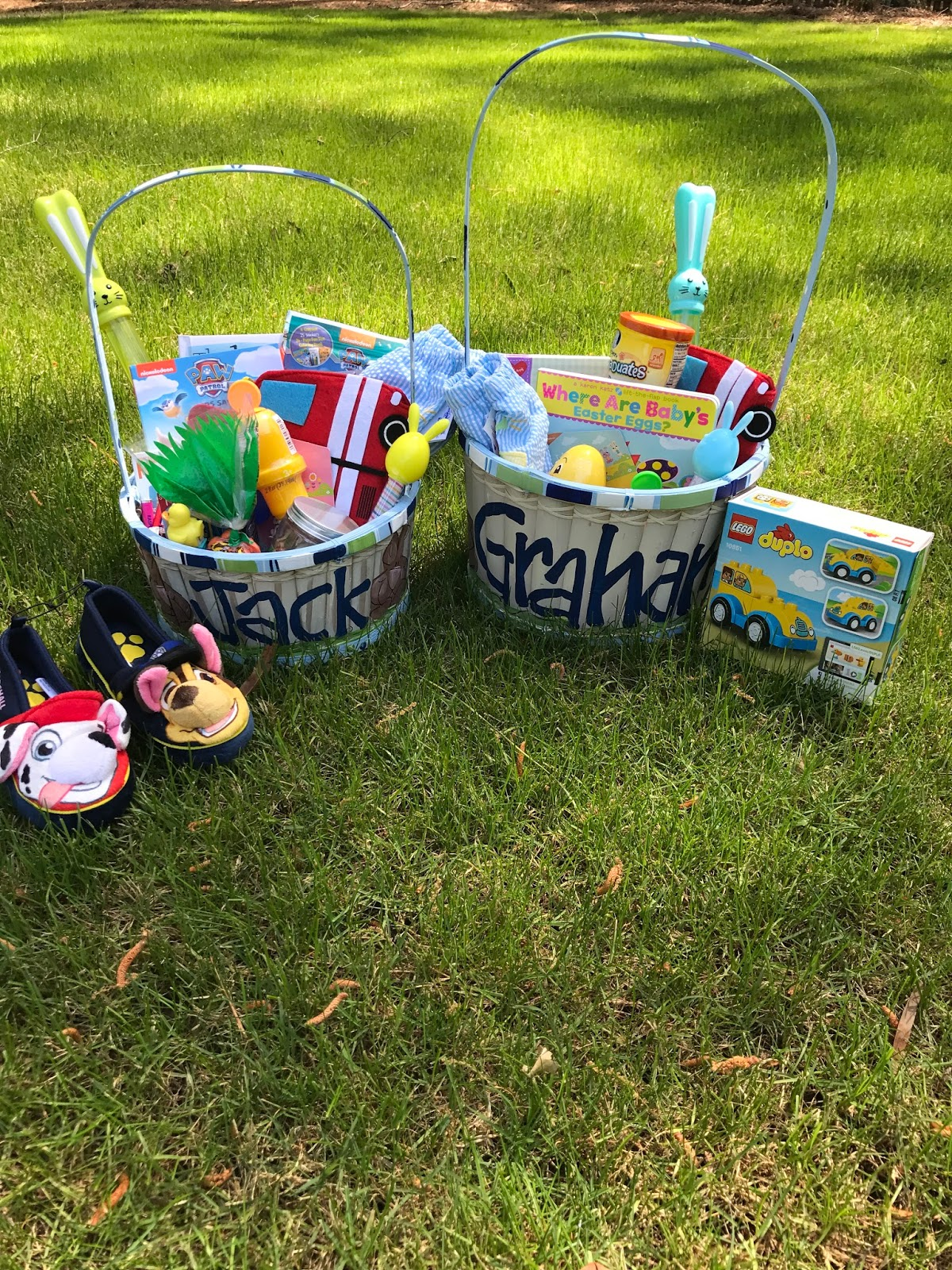 Three boys and a girl easter baskets 2017 painted easter baskets and tons come up the sizes are a tad off since i got jacks before graham was born they both have their name and these cute negle Image collections