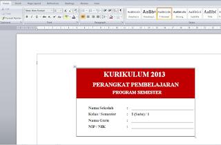 Prota dan Promes K13 edisi revisi terbaru