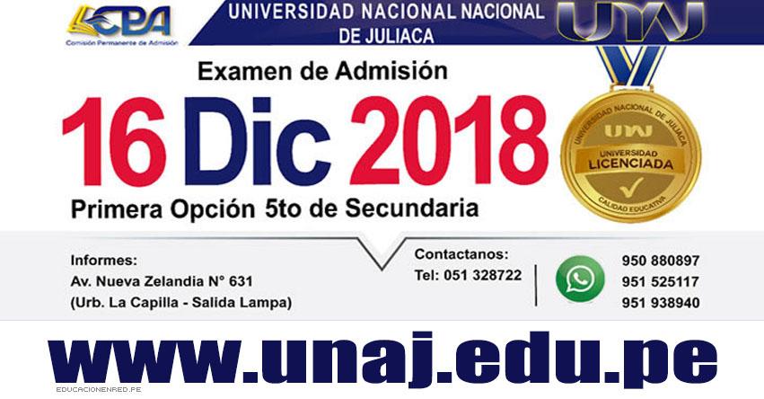 Resultados UNAJ 2019-1 (16 Diciembre) Lista Ingresantes - Examen Extraordinario Primera Opción - Universidad Nacional de Juliaca - www.unaj.edu.pe