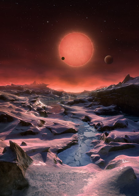 Artist's impression of the ultracool dwarf star TRAPPIST-1 from the surface of one of its planets. Credit: ESO/M. Kornmesser