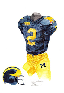 1997 University of Michigan Wolverines football uniform original art for sale